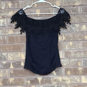Soho Lady Off the Shoulder Black Ruched Lace Top